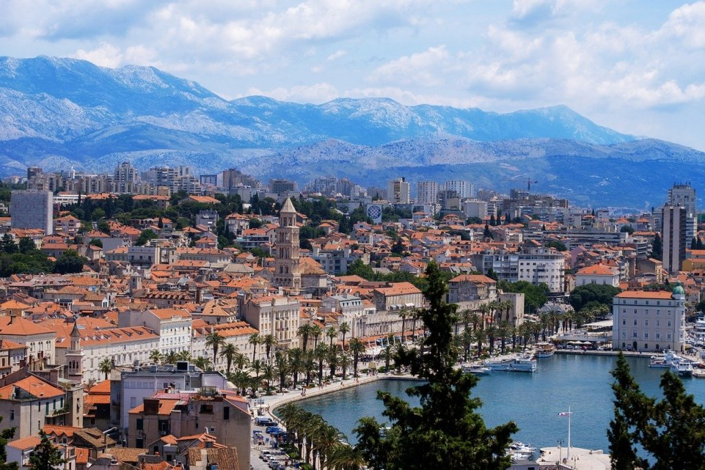 Aerial shot of Split, Croatia featuring the port.