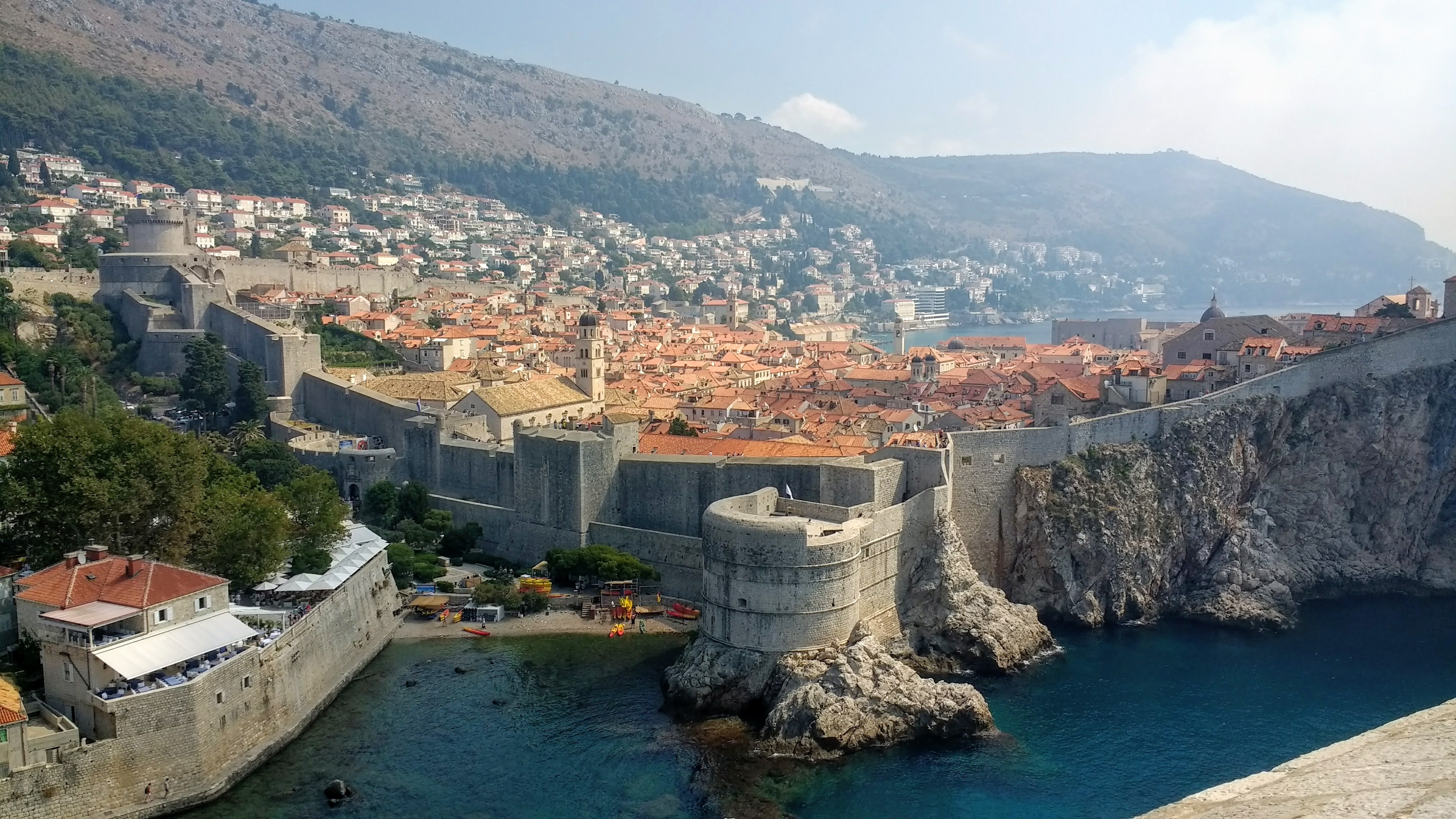 A shot of Dubrovnik taken from the castle, featuring the Old Town walls.