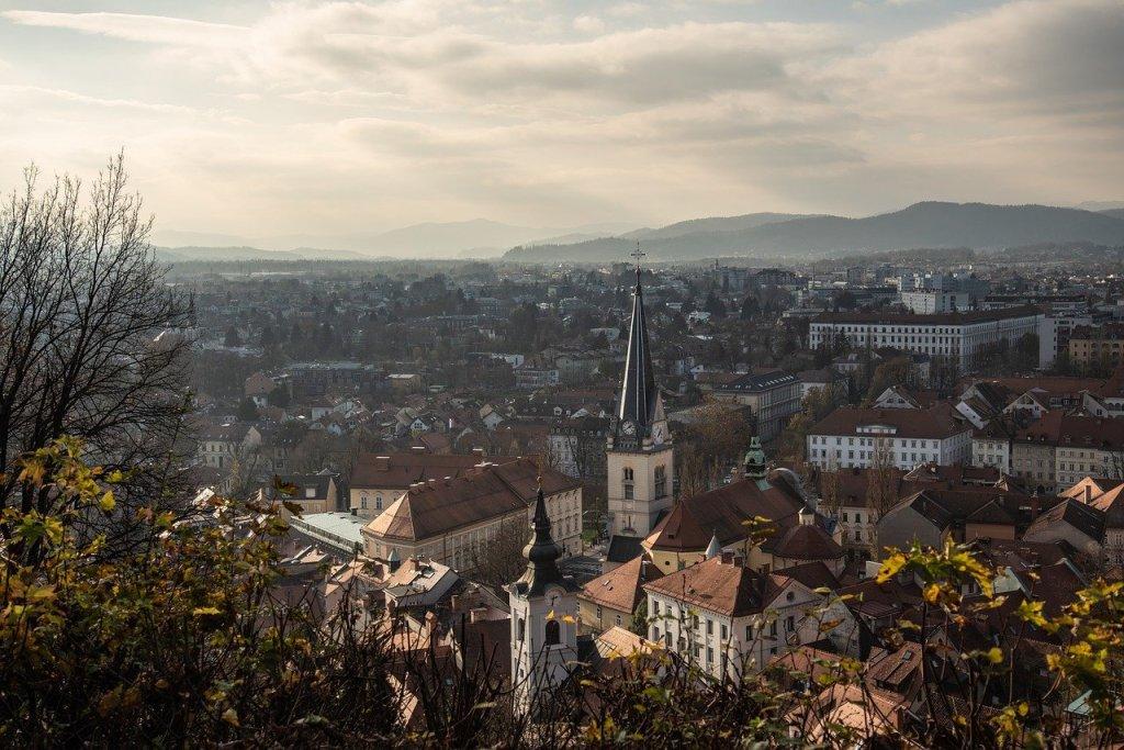 A cityscape of Ljubljana on a cold, cloudy day.