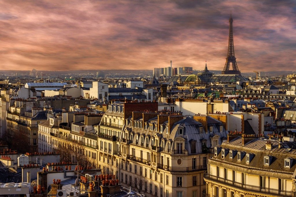 A shot of Paris, with the Eiffel Tower in the distance.