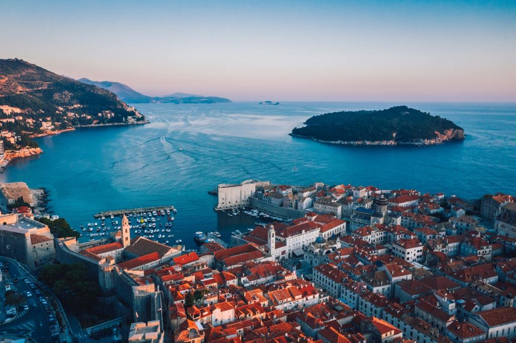 Aerial view of a Dubrovnik, Croatia at sunset.