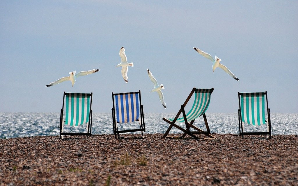 4 deck chairs on a pebble beach. Seagulls are flying low.